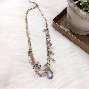 Dana Kellin Purple Crystal Drop Necklace